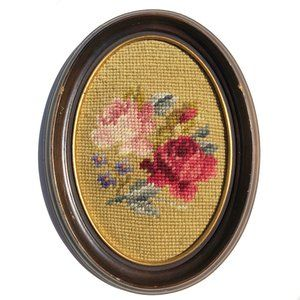 Vintage Small Oval 70s Needlepoint Framed Flowers